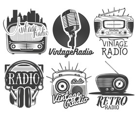Vector set of radio and music labels in vintage style isolated on white background.