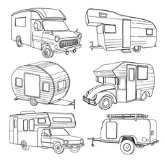 Foto op Canvas Cartoon cars illustration of isolated Hand Drawn, doodle Camper, car Recreati