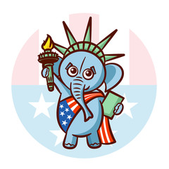Elephant Symbols of Republicans. Political parties in United States. Illustration for election, debate America. The Statue of Liberty. USA flag