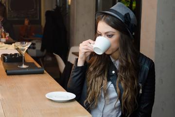 Girl in cafe bar