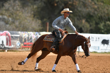 The side view of a rider in cowboy chaps, boots and hat on a horseback performs an exercise during a competition