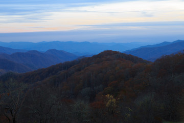 After sunset in newfound gap area in the great smokey mountains national park.
