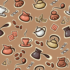 Vector seamless pattern with coffee and tea icons. Suitable for wallpaper, textiles, web pages.