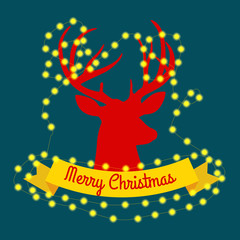 happy reindeer on the eve of New Year and Christmas lights in the horns with decorations like a Christmas tree. deer decorates glowing beads vector illustation.