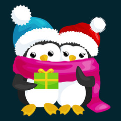 two happy cute Christmas penguin in hat and scarf are a stack of Christmas gifts on the eve of the new year. Greeting vector illustration with presents ands animals