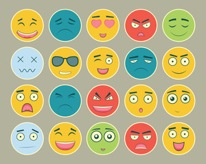 Emoticons flat design set. Emoticon for web site, chat, sms. Emoticons icons. Vector