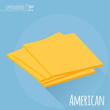 American cheese vector icon