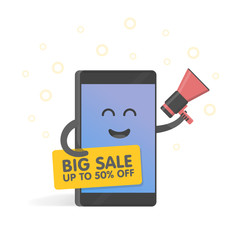 Smartphone concept with megaphone announcing sales and discounts, and holding banner. Cute Cartoon character phone with hands, eyes and smile