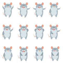 Set of flat mouse icons