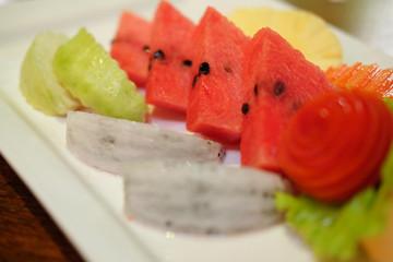 Close up slice of fresh fruit