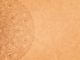 Horizontal background with oriental round pattern and texture of old paper. Vector illustration.