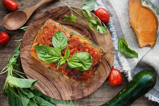 Vegan lasagna with vegetables