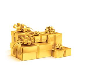 Celebration gold gift boxes isolated on white background