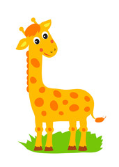 Giraffe. Vector Standing Giraffe. African Animal Jolly Giraffe. Zoo, Circus. African Giraffe Figurine. Tall Giraffe. Picture On A White Background.
