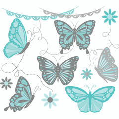 Aqua and Grey Butterfly Collections.Butterfly Silhouette,Flower,Lace Border,Invitations