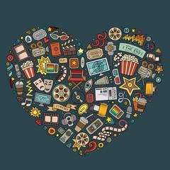 Set of Cinema cartoon doodle objects