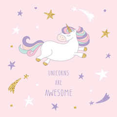 Cartoon unicorn on the starry sky. Cute inspirational card with glitter. For birthday cards, baby shower, notebook cover, t-shirt or pajamas design.