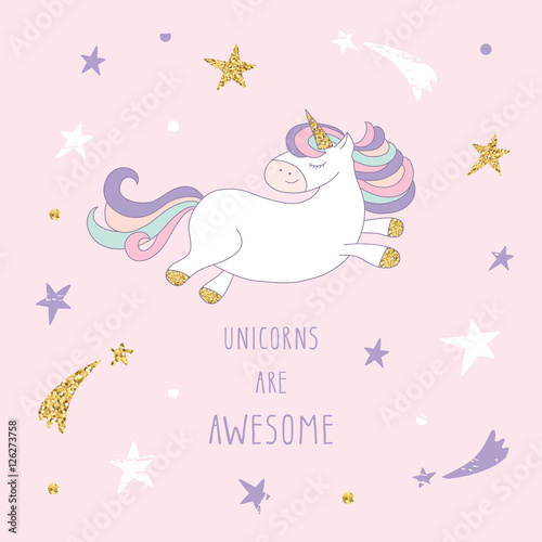 Cartoon Unicorn On The Starry Sky Cute Inspirational Card With Glitter For Birthday Cards