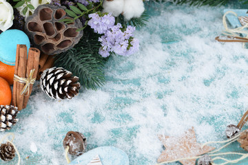 Christmas background, copy Space, flower and fruit in the snow w
