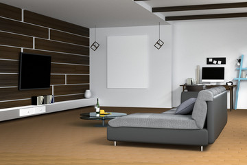 3D Rendering : illustration of white Living room interior design with dark sofa.blank picture frames.shelves and white walls.work space at background.television hanging on a wall