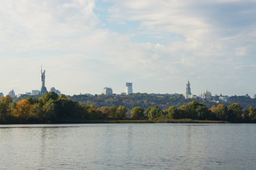 View of the right bank of the Dnipro River