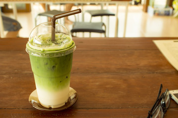 iced green tea smoothie in coffee cafe