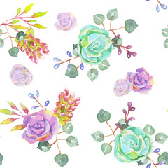 Succulents, eucalyptus branches and berries on a white backgroun