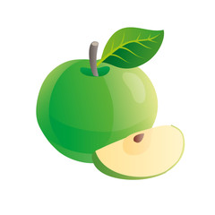 Green apple fruit with a slice isolated.