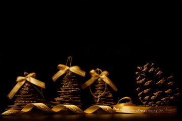 Pine cone on dakr background. Christmas decoration background