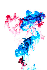 Red and blue ink in water