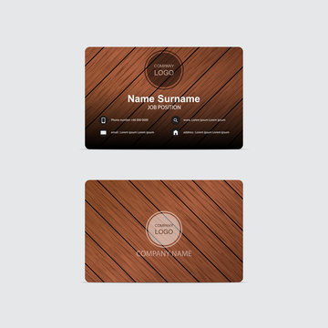 Vector business card wood background
