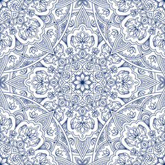 Oriental seamless pattern. Blue outline square Arabic, Indian, American, Moroccan ethnic ornament such as adult coloring book, batik, t-shirt print. Mandala. Vector illustration.