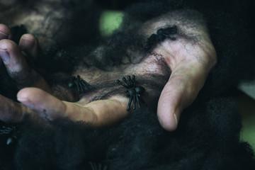 Manos de hombre con telas de araña negras. Decoración de halloween