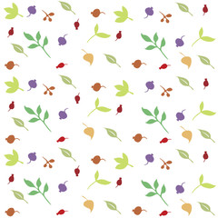 berries. leaves. print with floral motifs.