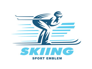 Winter sports - skiing. Illustration on white background