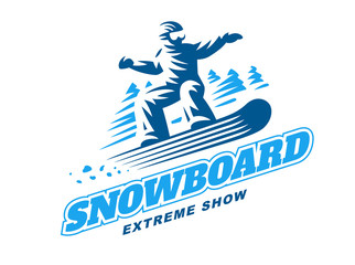 Snowboarding emblem Illustration on white background
