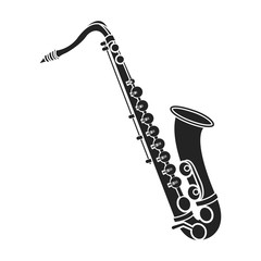 Saxophone icon in black style isolated on white background. Musical instruments symbol stock vector illustration