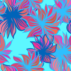 Bright fantasy flowers. Vector seamless pattern