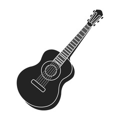 Acoustic guitar icon in black style isolated on white background. Musical instruments symbol stock vector illustration