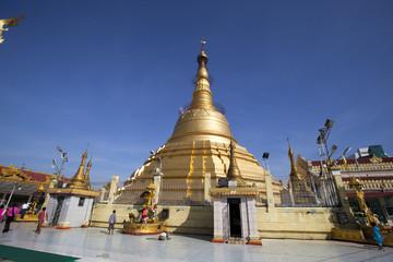 the golden Botataung pagoda located in downtown Yangon, Myanmar