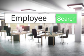 websearch new job green search button office 3D Illustration