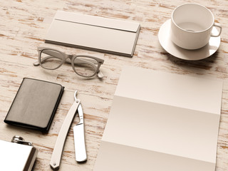 Office corporate mockup design. 3D illustration