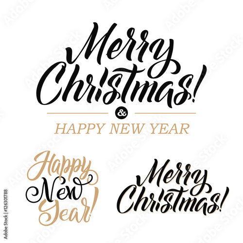 Merry Christmas AND Happy New Year Calligraphy Set. Greeting Card ...