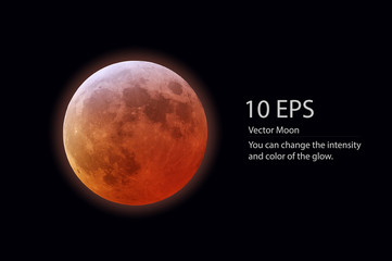 isolated vector red moon