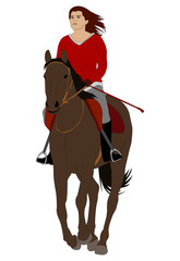 woman riding horse 4 - vector