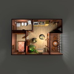 3d interior rendering of illuminated brown lodge home apartment