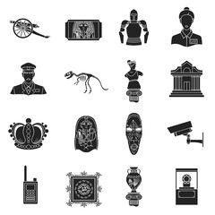 Museum set icons in black style. Big collection of museum vector symbol stock illustration