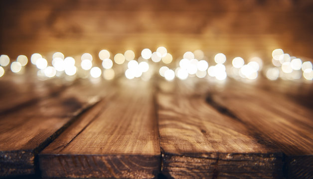 lights on wooden rustic background