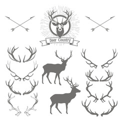 Set of deers  silhouette, deer head and antlers. Deer logo desig