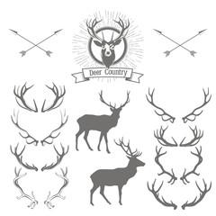 Set of deers  silhouette, deer head and antlers. Deer logo desig